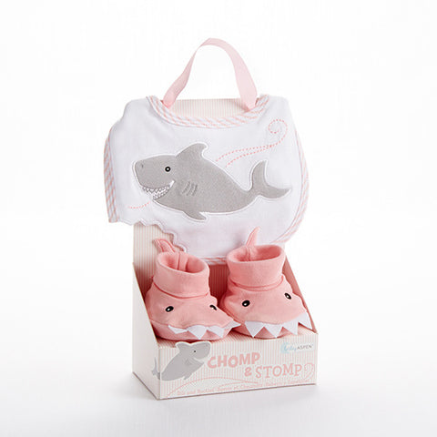 """Chomp & Stomp"" Shark Bib and Booties Gift Set For a Baby Girl"