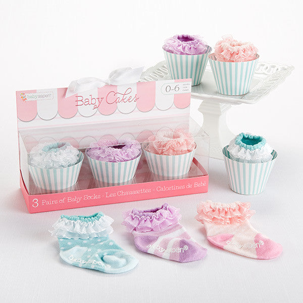 "Baby Girl  3 Pairs of Socks Gift Set ""Baby Cakes"" - Brands For Kids"