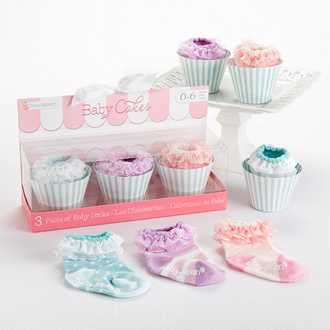 "Baby Girl  3 Pairs of Socks Gift Set ""Baby Cakes"""