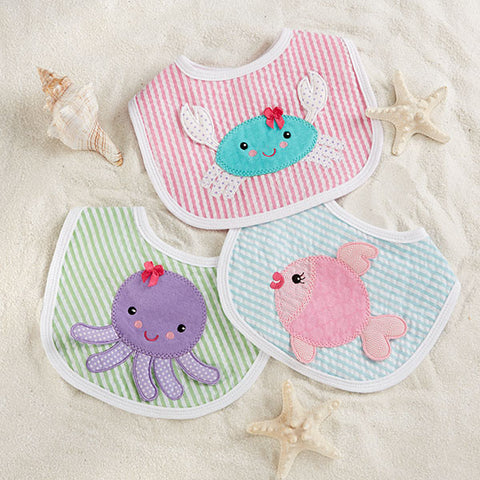 """Beach Buddies"" 3-Piece Baby Bib Gift Set (Girl)"
