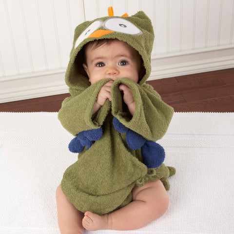"Baby Aspen ""My Little Night Owl"" Hooded Baby Bath Robe Green"