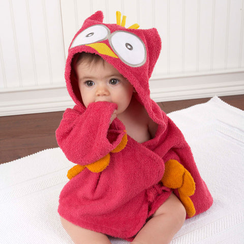 "Baby Aspen ""My Little Night Owl"" Hooded Baby Bath Robe Pink"