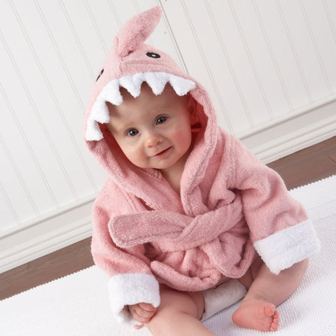 """Let the Fin Begin"" Pink Shark Baby Girl Robe"