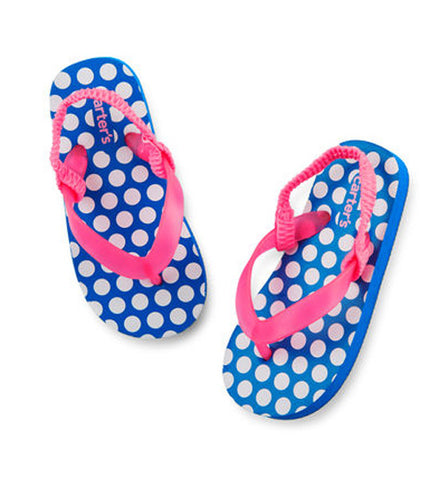 Girls Carter's Polka Dot Flip Flops Blue/Pink