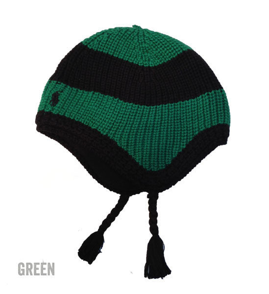Ralph Lauren Baby Boy Striped Cotton Hat Green