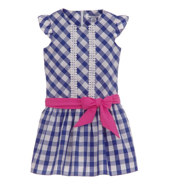 Girls Checked Dress with Sash Blue - Brands For Kids