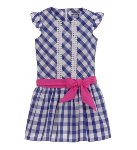 Girls Checked Dress with Sash Blue