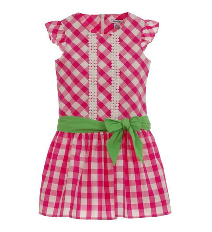Girls Checked Dress with Sash Pink