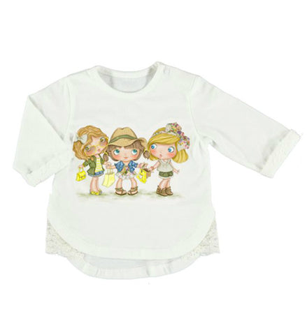 Mayoral Baby Girls Printed Shirt White