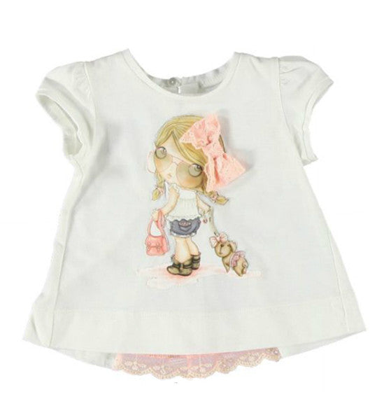 Mayoral Baby Girl Short Sleeved Top White - Brands For Kids