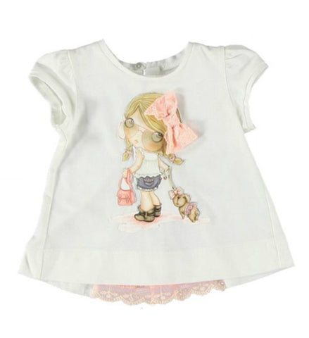 Mayoral Baby Girl Short Sleeved Top White