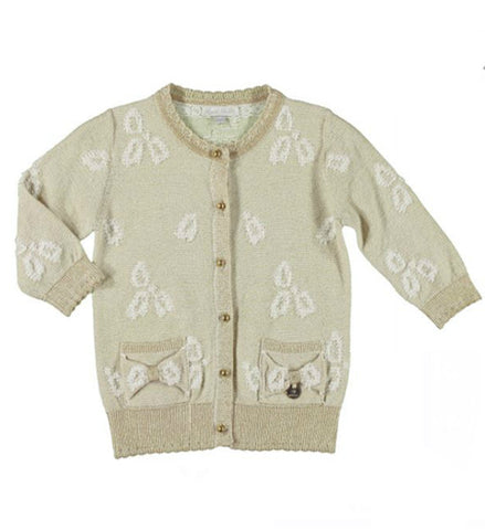 Mayoral Girls Knot Cardigan Beige