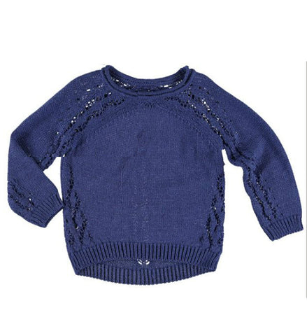 Mayoral Girls Openwork Sweater Indigo