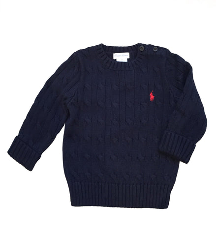Ralph Lauren Baby Boy Cable-Knit Cotton Sweater Navy