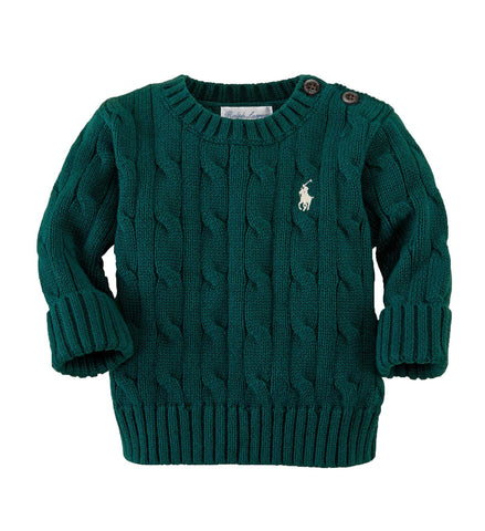 Ralph Lauren Baby Boy Cabled Cotton Sweater Hunter Green