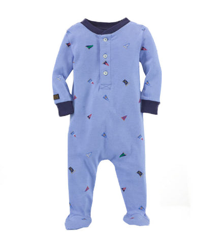 Ralph Lauren Baby Boy Flag Cotton Pyjamas Set Blue