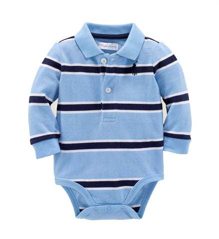 Ralph Lauren Baby Boy Striped Mesh Cotton Bodysuit Light Blue