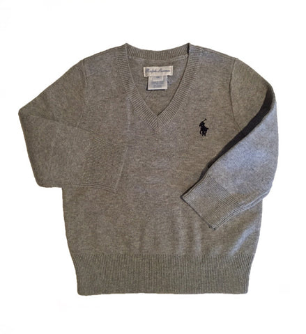 Ralph Lauren Baby Boy Cotton V-Neck Sweater Grey