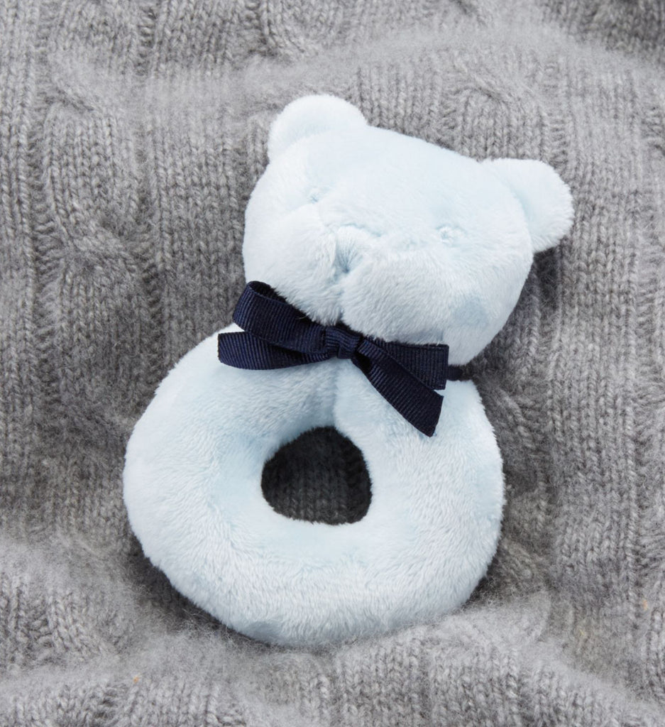 Ralph Lauren Baby Boy Bear Rattle Pearl Blue - Brands For Kids