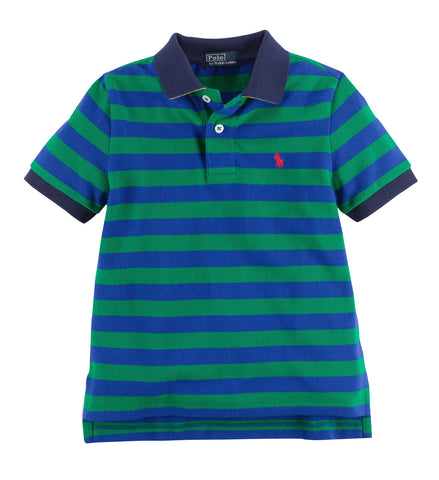Ralph Lauren Striped Cotton Mesh Polo Shirt Toddler Boy Green/Blue