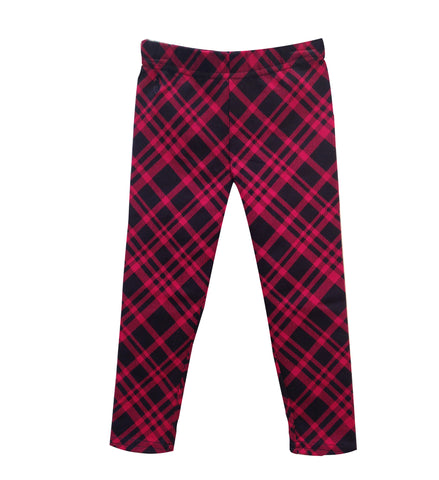 Ralph Lauren Girls Plaid Leggins Black Red