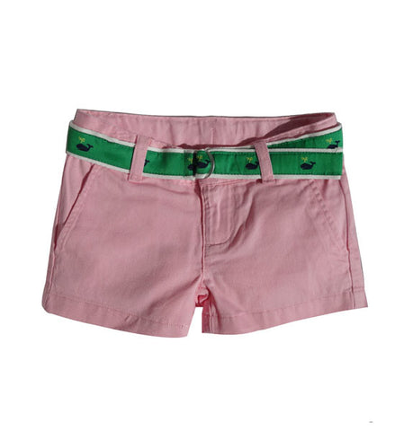 Ralph Lauren Girls Belted Chino Shorts Pink