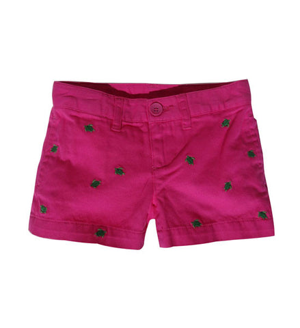 Ralph Lauren Girls Embroidered Chino Shorts Pink