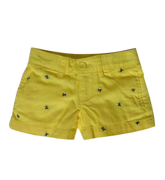 Ralph Lauren Girls Embroidered Chino Shorts Yellow