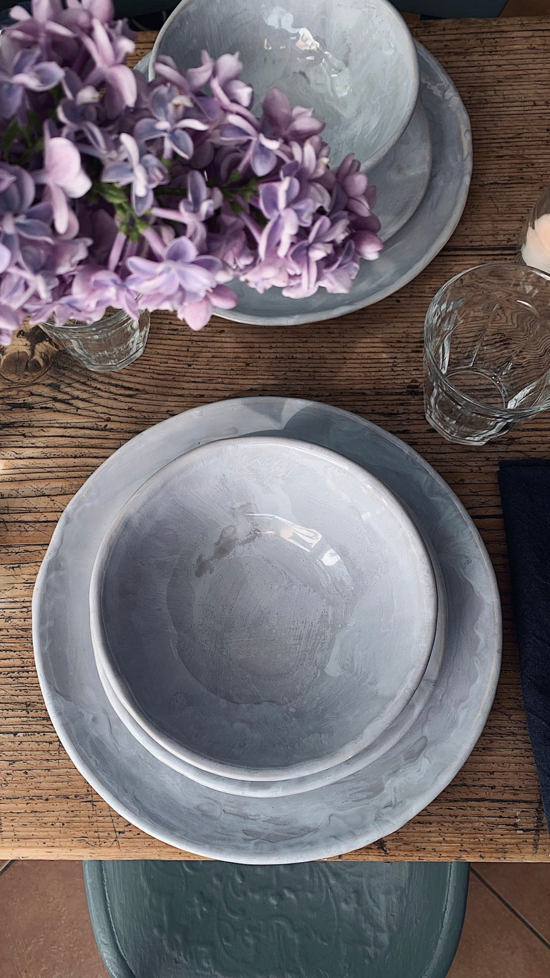 handmade grey set of plate and bowl