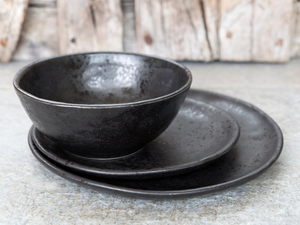 mexican food dish set black pottery