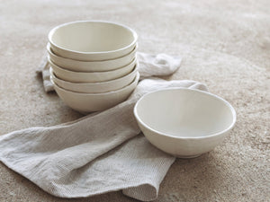 white vegan stoneware bowls for table serving