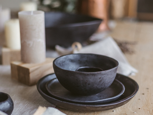 3-piece handmade pottery dinnerware set for 12 people