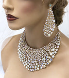 Gold AB Crystal Chunky Rhinestone Bib Necklace Statement Bridal Jewelry Set - Glam Duchess