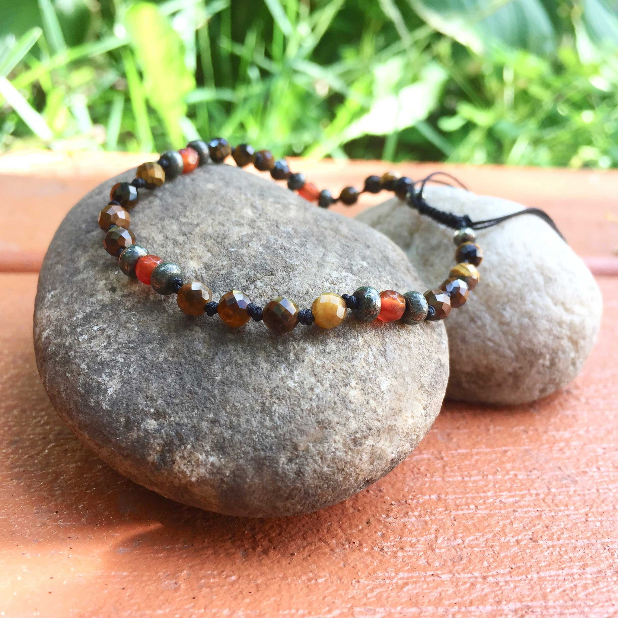 3) Tiger's Eye with Pyrtie and Carnelian