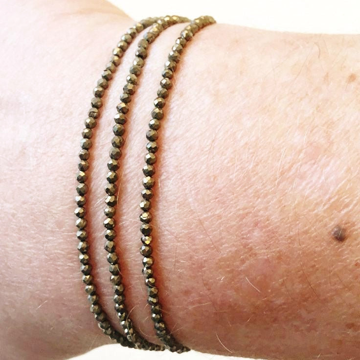 Pyrite beaded hand-knotted silk friendship bracelet