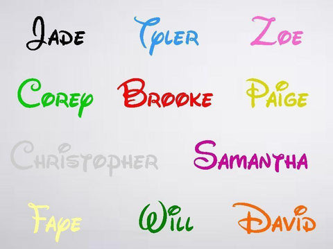 Name In Disney font Decal sticker