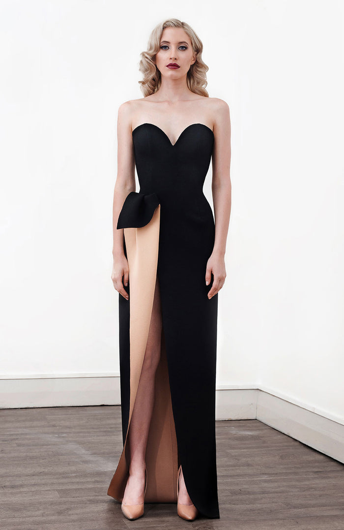 Image of 'Aphrite' Strapless Two Tone Dress in Black - Front