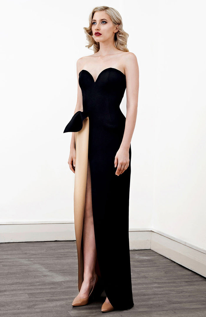 Image of 'Aphrite' Strapless Two Tone Dress in Black - Side