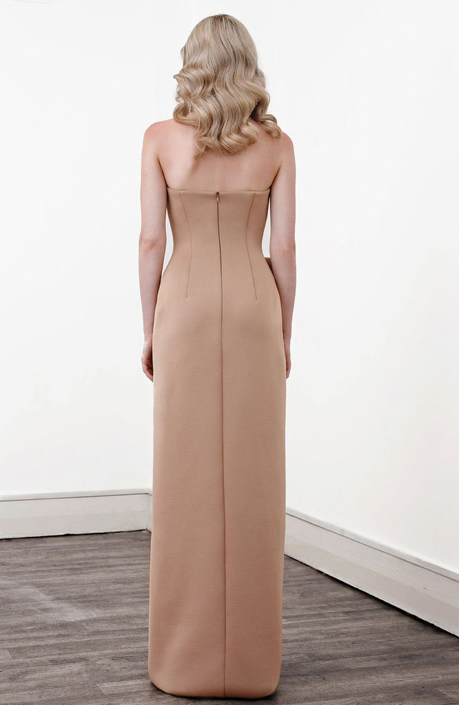 Image of 'Aphrite' Strapless Two Tone Dress in Caramel - Back
