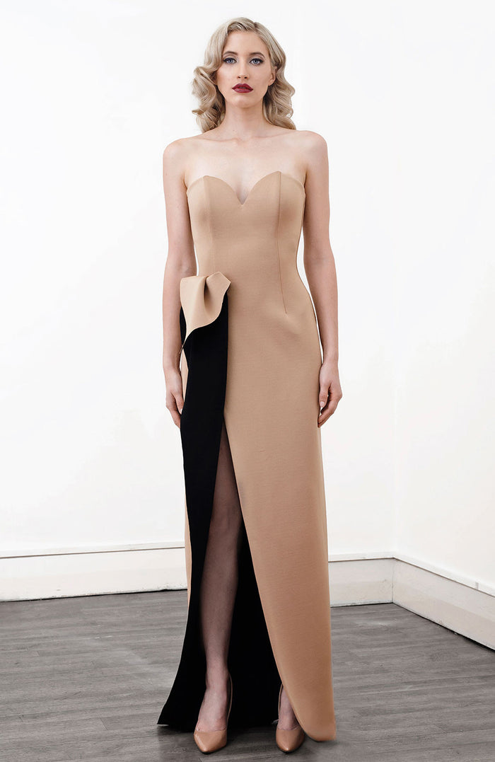 Image of 'Aphrite' Strapless Two Tone Dress in Caramel - Front