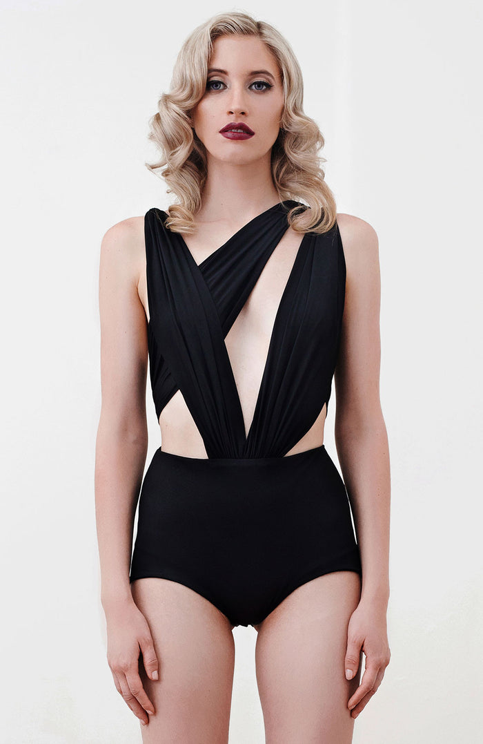 'Lektra' Jersey Bodysuit in Black