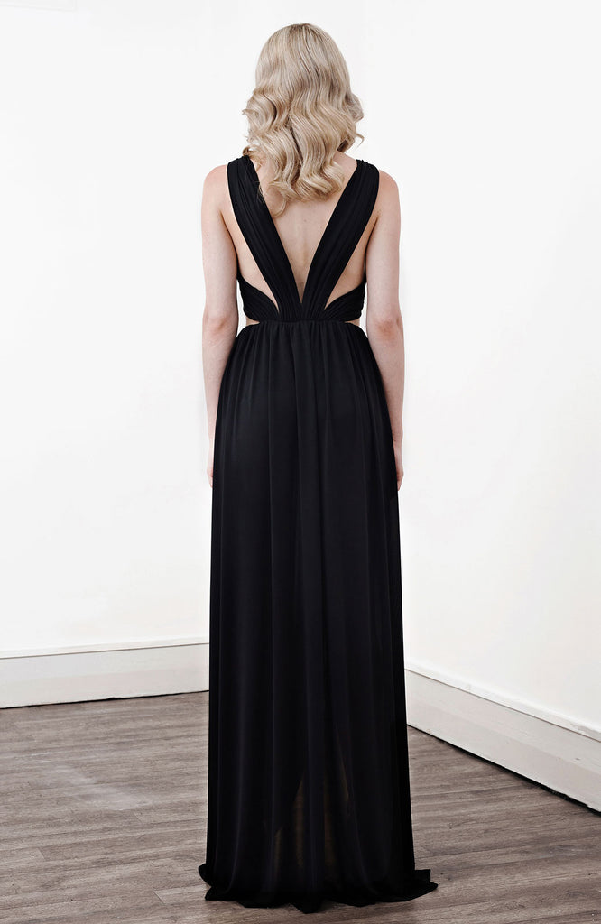Image of 'Alektra' Jersey Dress in Black - Back
