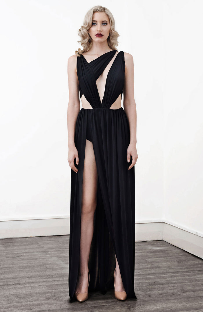 Image of 'Alektra' Jersey Dress in Black - Front