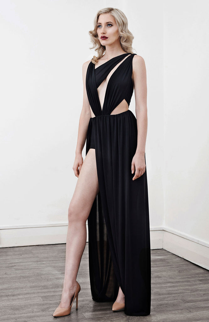 Image of 'Alektra' Jersey Dress in Black - Side