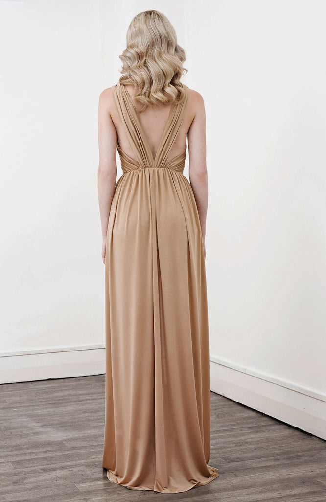 Image of 'Alektra' Jersey Dress in Caramel - Back