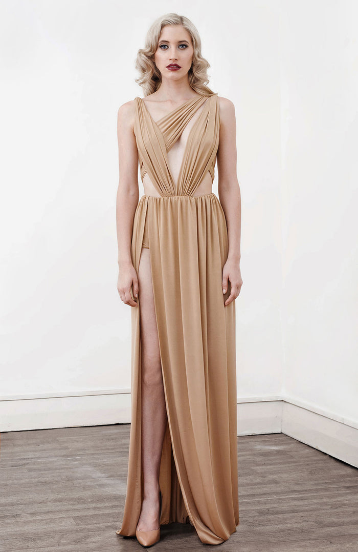 Image of 'Alektra' Jersey Dress in Caramel - Front