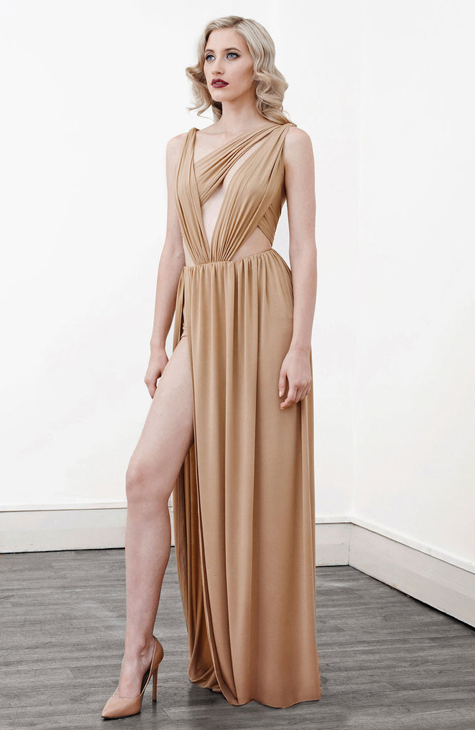Image of 'Alektra' Jersey Dress in Caramel - Side