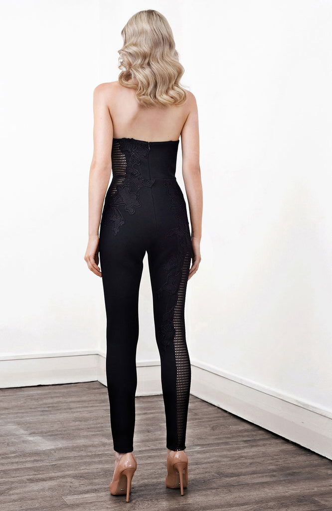 Image of 'Indium' Lace Applique Jumpsuit - Back