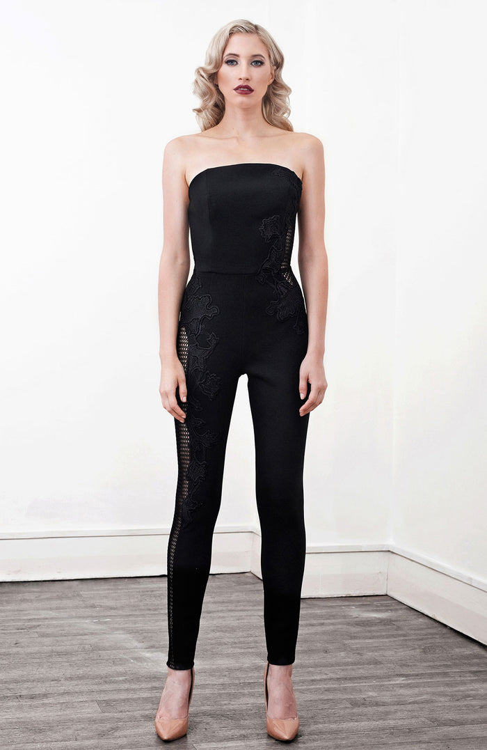 Image of 'Indium' Lace Applique Jumpsuit - Front
