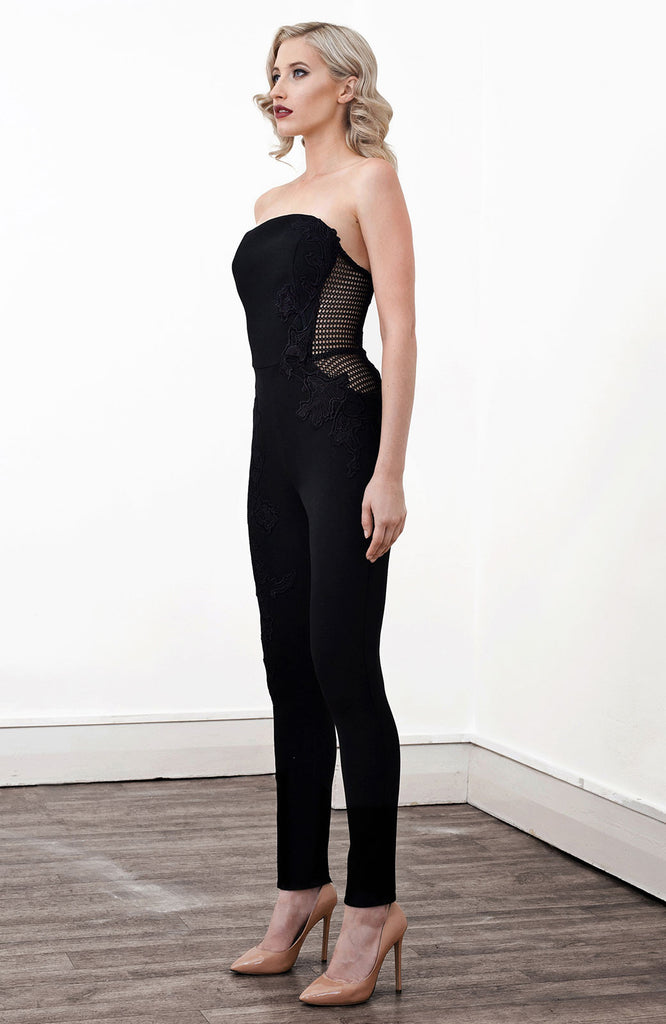 Image of 'Indium' Lace Applique Jumpsuit - Side